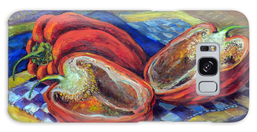 Still Life Painting Galaxy S8 Case featuring the painting Sliced Red Pepper by Jean Groberg