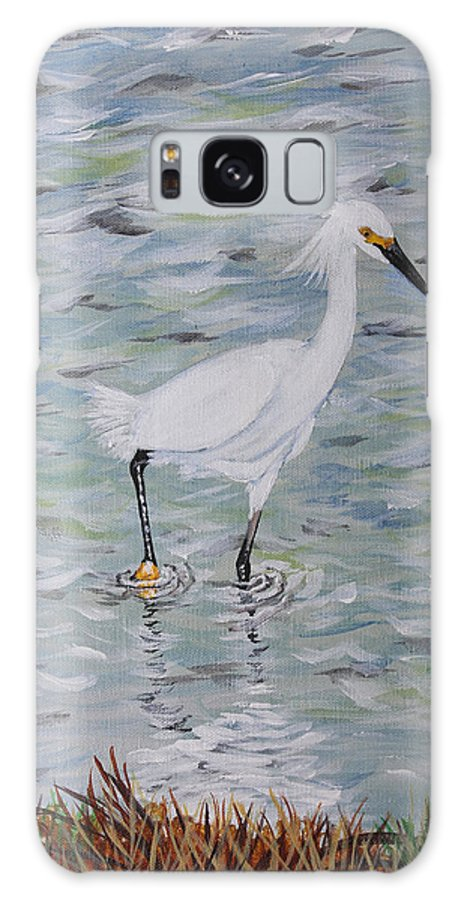 Snowy Egret Galaxy S8 Case featuring the painting Snowy Egret by Karl Wagner