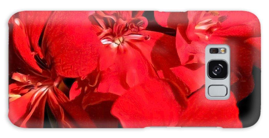 Red Flower Cascade Galaxy S8 Case featuring the photograph Soft Petals Cascade by Debra   Vatalaro