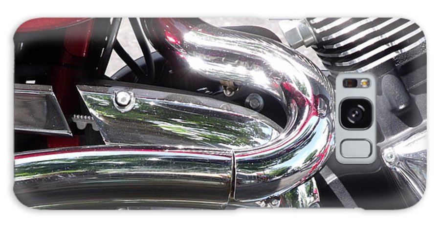 Motorcycle Detail Chrome Photo Galaxy S8 Case featuring the photograph Sparkling Curved Chrome by Cherokee Blue