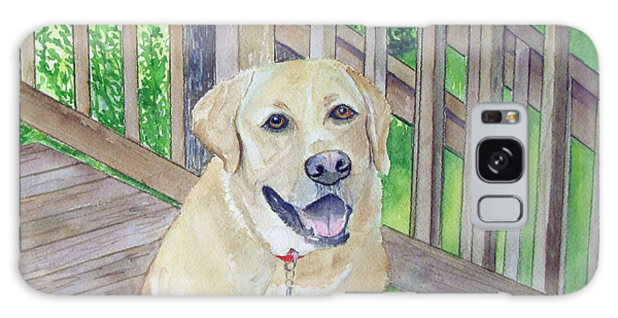 Dog Galaxy S8 Case featuring the painting Spencer On Porch by Carol Flagg