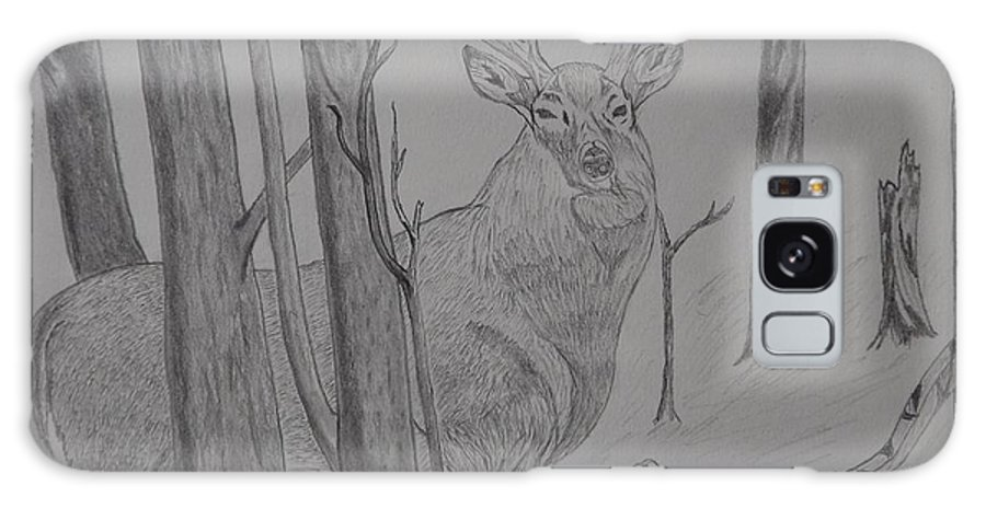White Tail Deer Galaxy S8 Case featuring the drawing Stand Off by Gerald Strine
