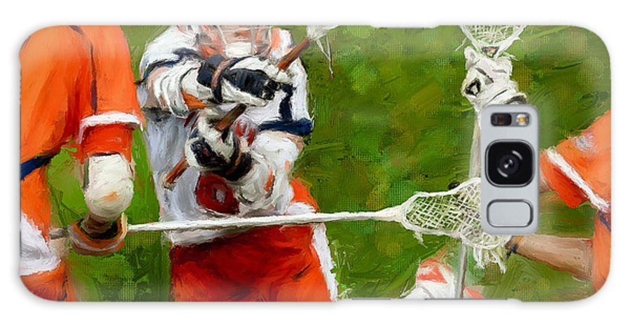 Lacrosse Galaxy S8 Case featuring the painting Stanwick Lacrosse 2 by Scott Melby