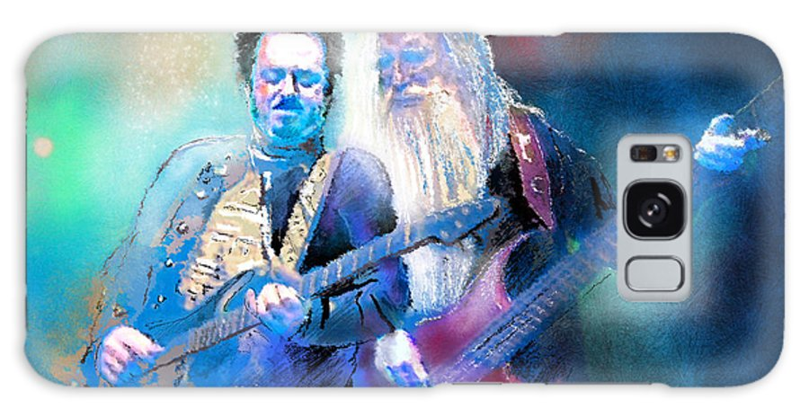 Musician Portrait Art Painting Steve Lukather Leland Sklas Toto Music Art Galaxy S8 Case featuring the painting Steve Lukather And Leland Sklar From Toto 02 by Miki De Goodaboom