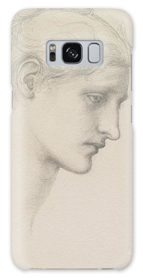 Female; Portrait; Drawing; Sketch; Profile; Pre-raphaelite Galaxy S8 Case featuring the drawing Study For Laus Veneria by Sir Edward Burne Jones
