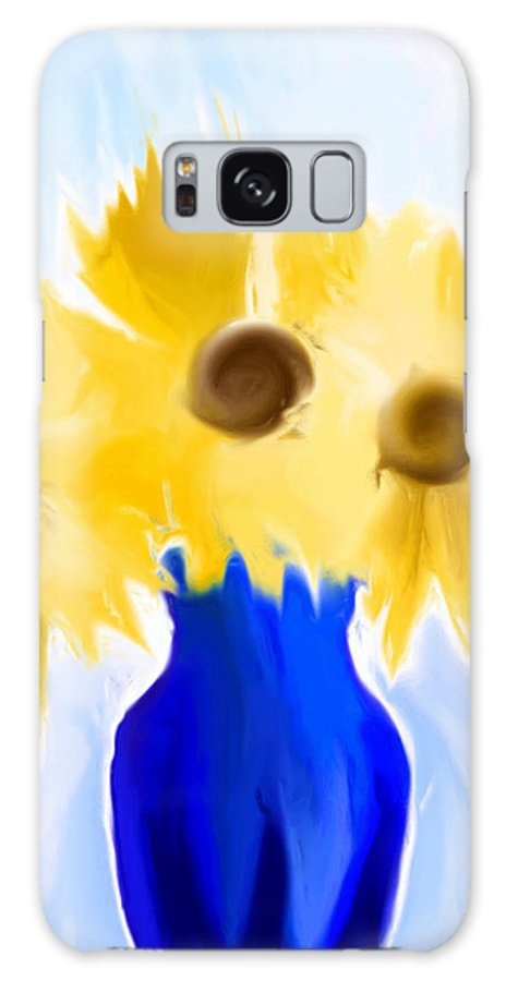 Digital Painting Galaxy S8 Case featuring the painting Sunflower Fantasy Still Life by Heidi Smith