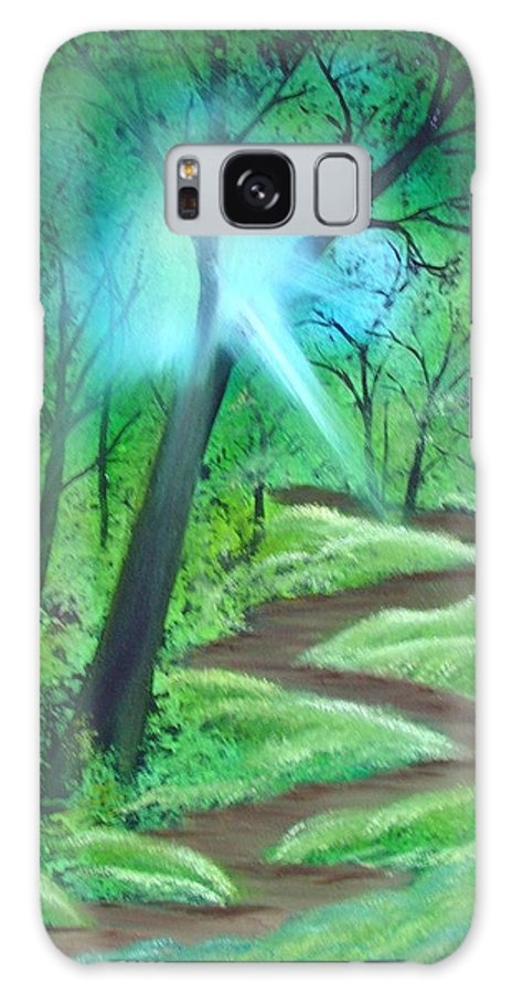 Painting Galaxy S8 Case featuring the painting Sunlight In The Forest by Charles and Melisa Morrison