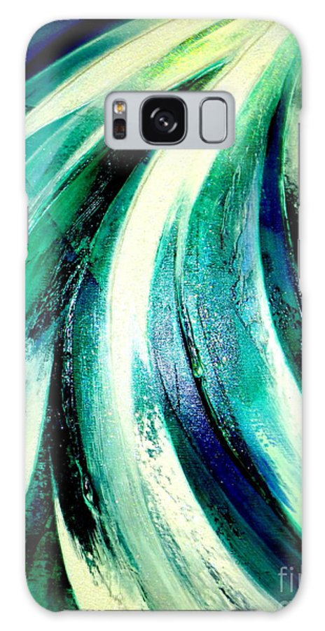Waterfall.light.mountain Galaxy S8 Case featuring the painting Sunshine In Waterfall by Kumiko Mayer
