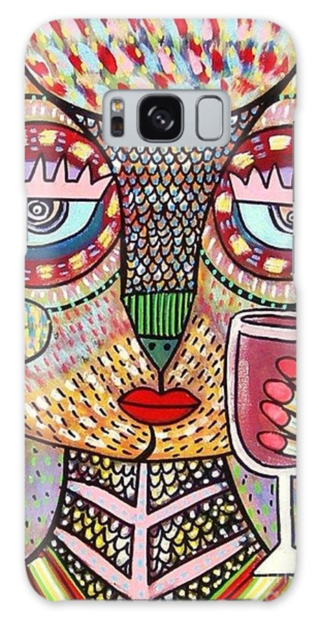 Women Galaxy S8 Case featuring the painting Talavera Feather Owl Drinking Red Wine S by Sandra Silberzweig