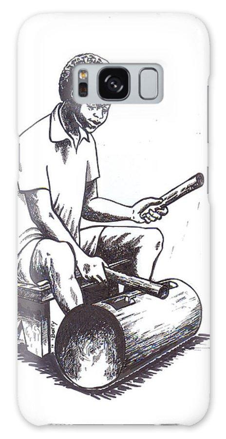 Tambourine Galaxy S8 Case featuring the painting Tambourine Man by Emmanuel Baliyanga