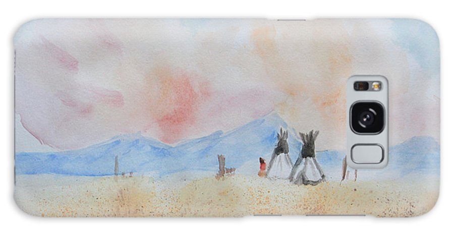 Teepees Galaxy S8 Case featuring the painting Teepees - Watercolor by Heidi Smith
