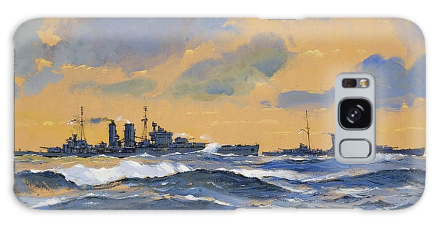 Naval; Battleships; Battleship; Royal Navy; Ww2; Wwii; Second; 2nd; 2; Cruiser Galaxy S8 Case featuring the painting The British Cruisers Hms Exeter And Hms York by John S Smith