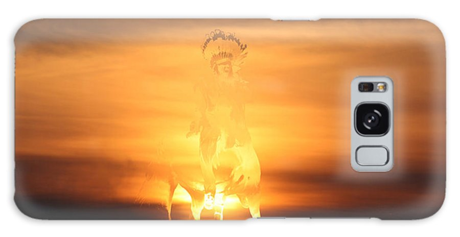 Sunset Native Aboriginal Artwork Indian Brave On Horseback War Paint Appaloosa Hunter Scout Colourful Abstract Sunrise Sky Scenery Golden Brown Yellow Saskatchewan Artist Galaxy S8 Case featuring the photograph The Buffalo Hunter by Andrea Lawrence
