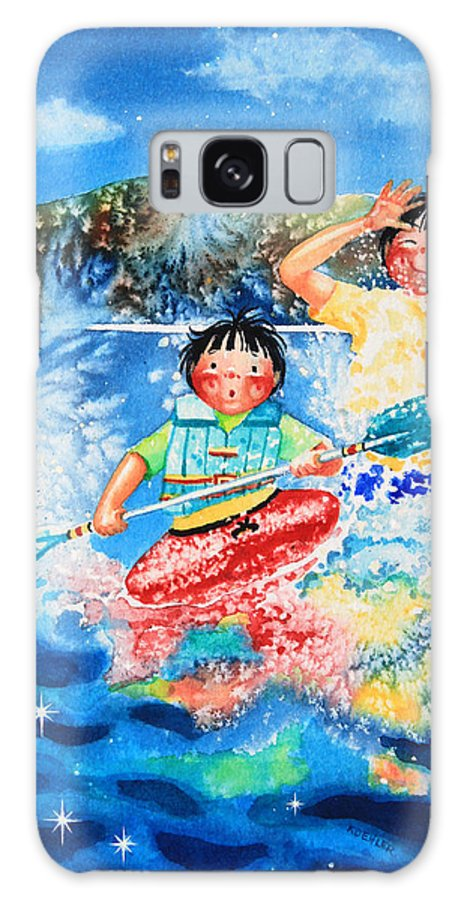 Olympic Dreams Story Galaxy S8 Case featuring the painting The Kayak Racer 7 by Hanne Lore Koehler