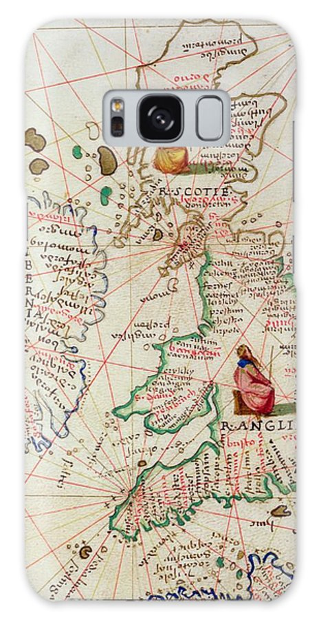 Maps Galaxy S8 Case featuring the drawing The Kingdoms Of England And Scotland by Battista Agnese