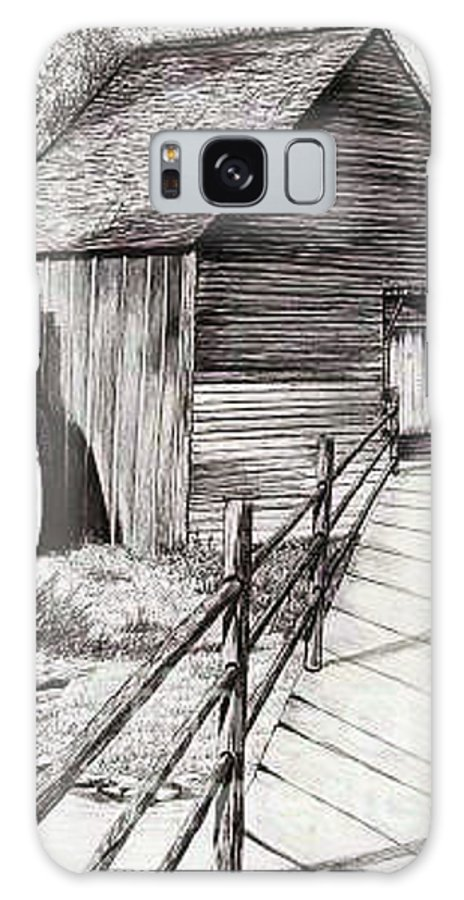 Drawing Of A Mill Galaxy S8 Case featuring the drawing The Ole Millhouse by Cheryl Poland