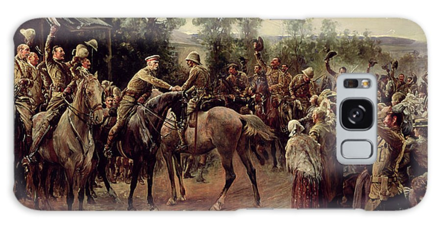 Boer War; Soldiers; Troops; Victory; Rescue; Town; Battle; Aftermath; Rejoicing; Mounted; Riding; Horse; Horseback; Officers; Officer; Greeting; Welcoming; Soldiers; Troops; Raising; Hats; Caps; Hat; Cap; Joyful; Cavalry; Victorious; Celebrating; Celebration Galaxy S8 Case featuring the painting The Relief Of Ladysmith On 27th February 1900 by John Henry Frederick Bacon