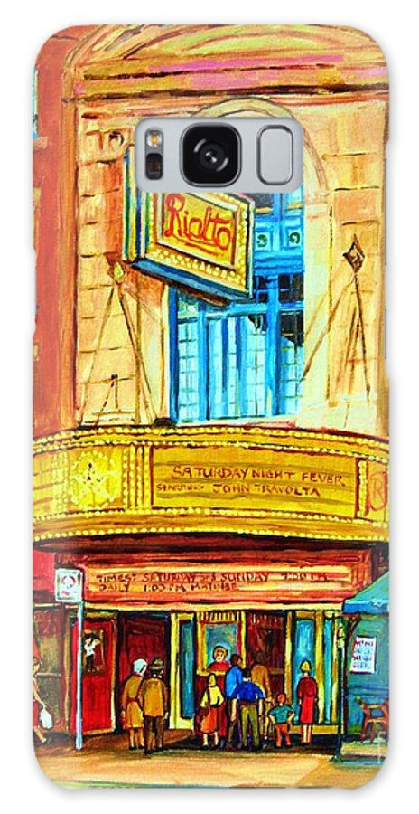 Street Scene Galaxy S8 Case featuring the painting The Rialto Theatre by Carole Spandau