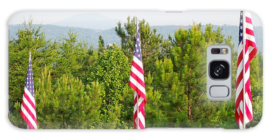 Flag Galaxy S8 Case featuring the photograph Three Flags And Kennesaw Mountain by Renee Trenholm