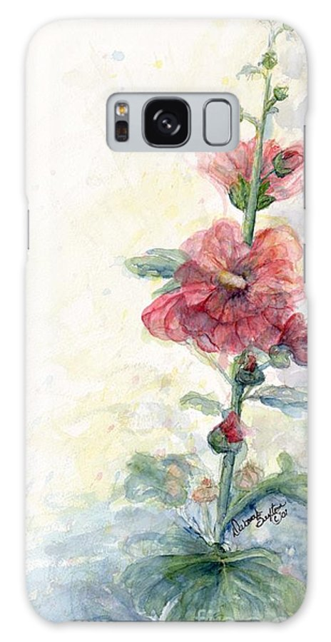Watercolor Galaxy S8 Case featuring the painting Touch Of Summer Hollyhocks Watercolor by CheyAnne Sexton