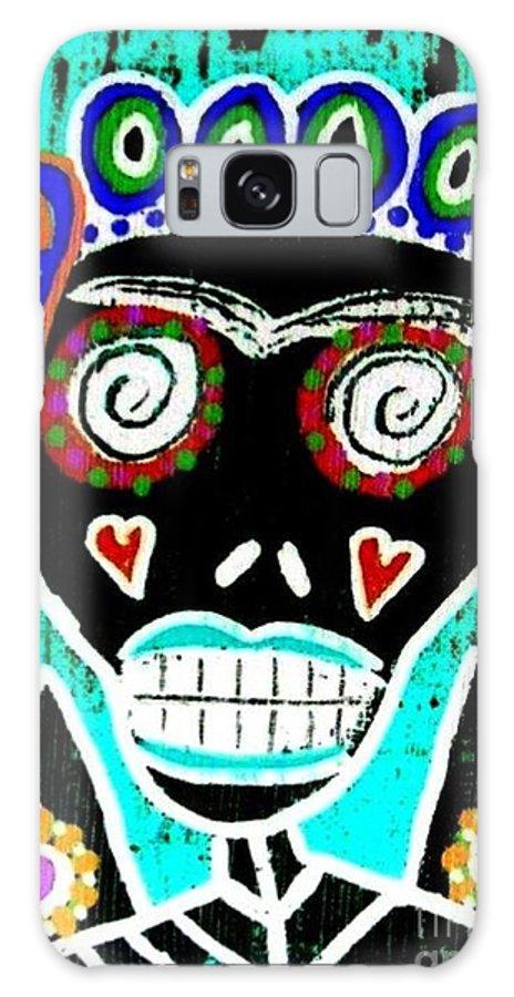 Women Galaxy S8 Case featuring the digital art Turquoise Queen Sugar Skull Angel by Sandra Silberzweig