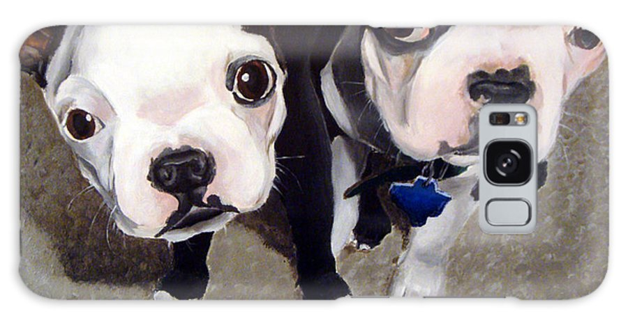 Boston Terriers Galaxy S8 Case featuring the painting Two Bossies by Michael Ivy