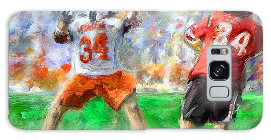 Lacrosse Galaxy S8 Case featuring the painting College Lacrosse 10 by Scott Melby