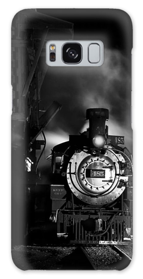 Steam Train Photographs Galaxy S8 Case featuring the photograph Waiting For More Coal Black And White by Ken Smith