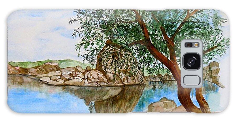 Watson Lake Prescott Arizona Peaceful Waters Galaxy S8 Case featuring the painting Watson Lake Prescott Arizona Peaceful Waters by Sharon Mick