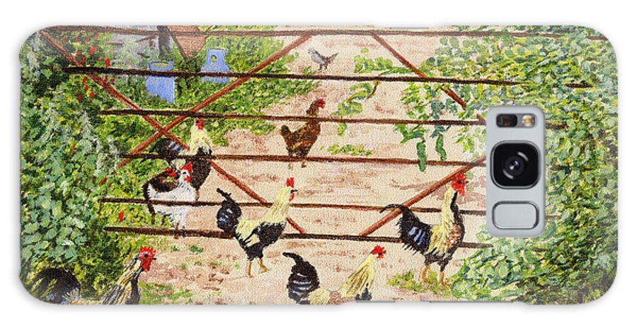 Welsh Farm Galaxy S8 Case featuring the painting Welsh Farm Cockerels On Patrol by Edward McNaught-Davis