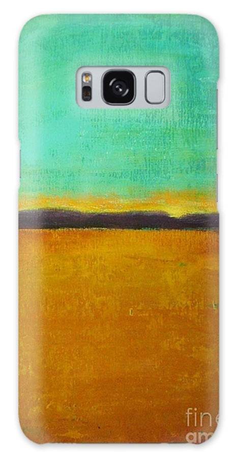 Abstract Galaxy S8 Case featuring the painting Wheat Field At Sunset by Vesna Antic