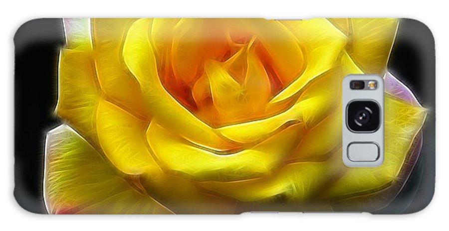Yellow Rose In The Moonlight.rose Galaxy S8 Case featuring the photograph Yellow Rose In The Moonlight by Georgiana Romanovna