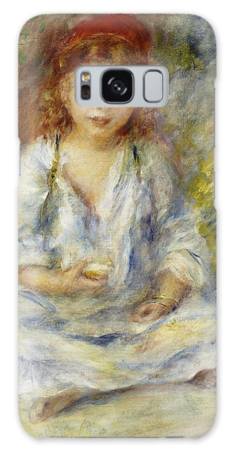 Impressionist; Impressionism; Female; Portrait; Seated; Sitting; Galaxy S8 Case featuring the painting Young Algerian Girl by Pierre Auguste Renoir