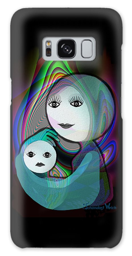 Mother And Child Galaxy S8 Case featuring the painting 044 - Full Moon Mother And Child  by Irmgard Schoendorf Welch