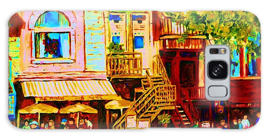 Cafe Art Galaxy S8 Case featuring the painting Beautiful Cafe Soleil by Carole Spandau