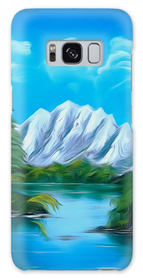 Canada Galaxy S8 Case featuring the painting Blue Lake Mirror Reflection Dreamy Mirage by Claude Beaulac
