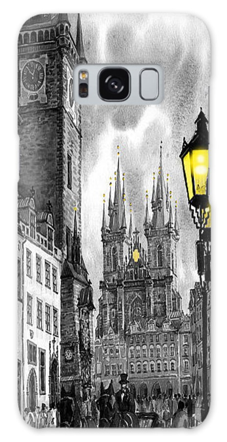 Geelee.watercolour Paper Galaxy S8 Case featuring the painting Bw Prague Old Town Squere by Yuriy Shevchuk