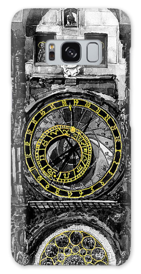 Geelee.watercolour Paper Galaxy S8 Case featuring the painting Bw Prague The Horologue At Oldtownhall by Yuriy Shevchuk