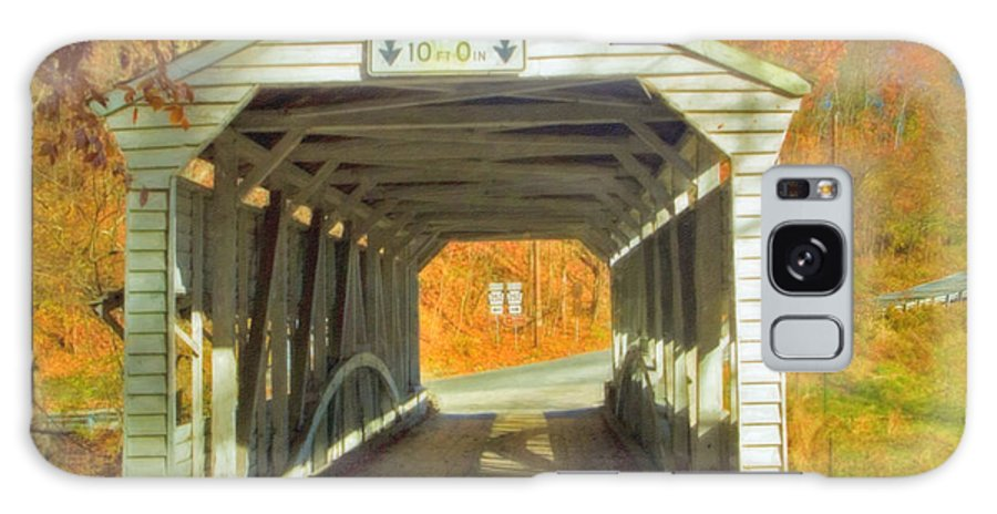 Covered Bridge Revolutionary Civil War Watercolor Photographs Galaxy S8 Case featuring the photograph Covered Bridge Watercolor by David Zanzinger