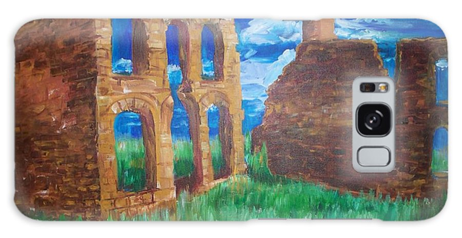 Western_landscapes Galaxy Case featuring the painting Ghost Town by Eric Schiabor