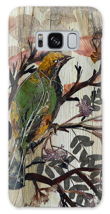 Green Bird Galaxy Case featuring the mixed media Green-yellow Bird by Basant Soni