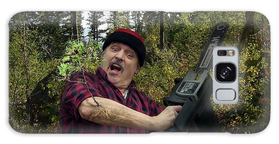 Surrealism Fantastic+realism Cloning Parasites Lumberjack Chainsaw Selfportrait Galaxy Case featuring the digital art I am a Lumberjack I am OK by Otto Rapp