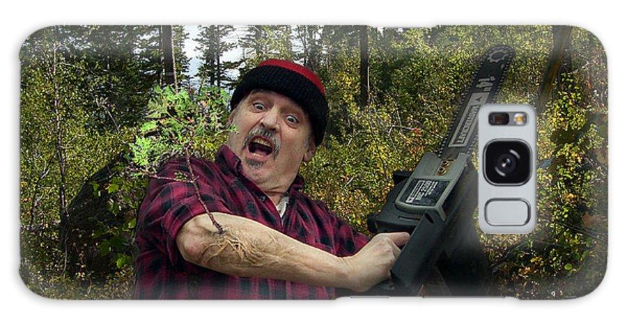Surrealism Fantastic+realism Cloning Parasites Lumberjack Chainsaw Selfportrait Galaxy S8 Case featuring the digital art I Am A Lumberjack I Am Ok by Otto Rapp