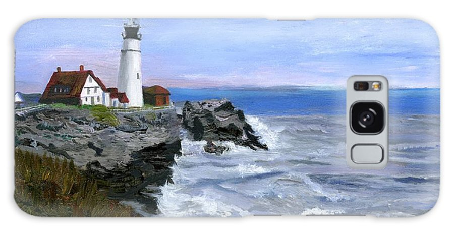 Ocean Galaxy S8 Case featuring the painting Lighthouse South Portland Me by Gloria Condon