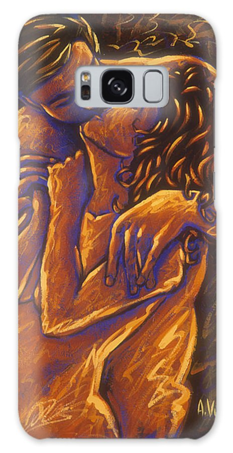 Acrylic Galaxy Case featuring the painting Los Amantes The Lovers by Arturo Vilmenay