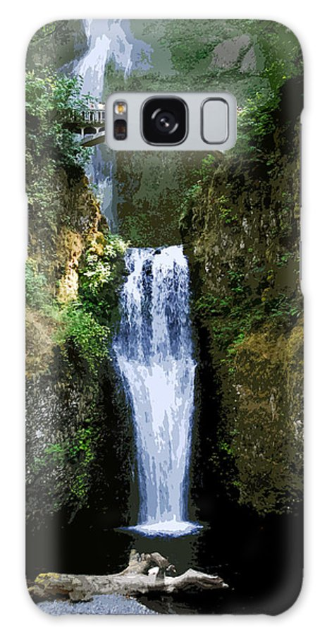 Water Falls Galaxy S8 Case featuring the painting Two Falls by David Lee Thompson