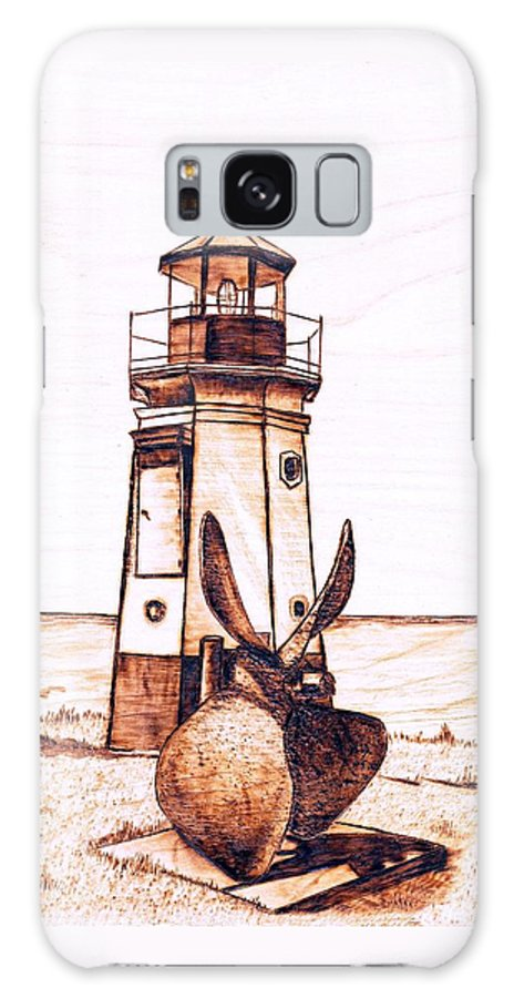 Lighthouse Galaxy S8 Case featuring the pyrography Vermilion Lighthouse by Danette Smith