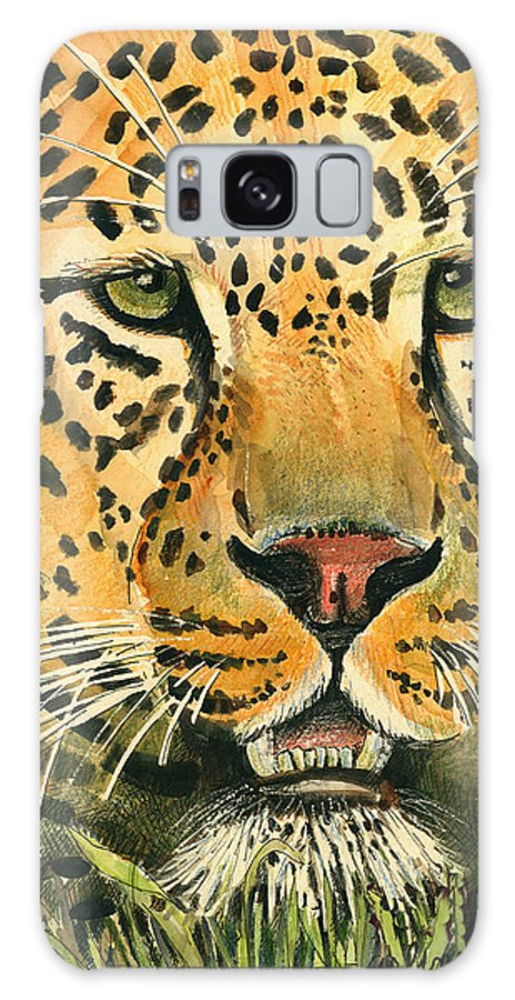 Leopard Galaxy Case featuring the painting Waiting For Prey by Arline Wagner