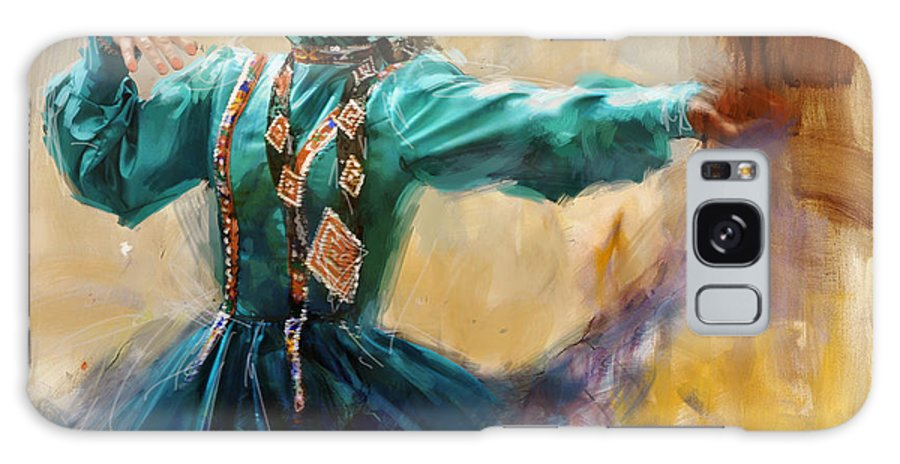 Attan Dance Galaxy S8 Case featuring the painting 011 Pakhtun by Mahnoor Shah