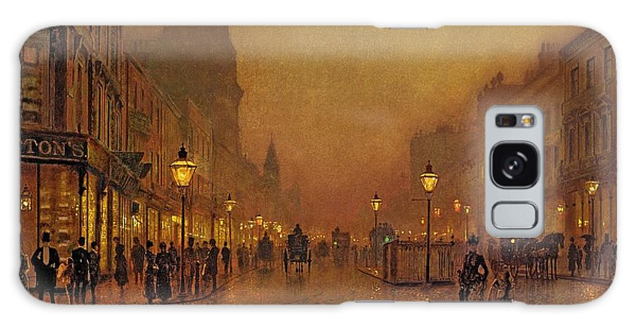 Street Galaxy S8 Case featuring the painting A Street At Night by John Atkinson Grimshaw